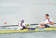 Munich, GERMANY, GBR M8+, Move away from the pontoon in their Time trial heat Women's Double Sculls at the FISA World Cup on the Munich Olympic Rowing Course, Friday  27/05/2011  [Mandatory Credit Peter Spurrier/ Intersport Images]..Crew: Bow, Right to left.  Dan RITCHIE and Cox. Phelan HILL