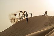 Children play on a Desert sand dune
