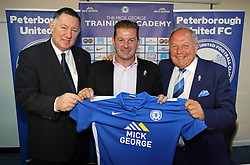 Graham Westley (centre) is unveiled as new Peterborough United manager; Bob Symns (left, chief executive) and Barry Fry (right, director of footbal) - Mandatory byline: Joe Dent/JMP - 07966 386802 - 21/09/2015 - FOOTBALL - ABAX Stadium - Peterborough, England - Graham Westley