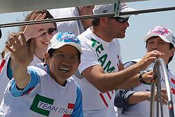 World Match Racing Tour 2010. Korea Match Cup, Gyeonggi, Korea. 8th June 2010, Mr Kim Moon Soo, Governor, Gyeonggi Province (left) sailing with Paulo Cian.