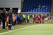 The Bradford players celebrate after the equalising goal during  the The FA Cup 2nd round match between Peterborough United and Bradford City at London Road, Peterborough, England on 1 December 2018.