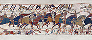 Bayeux Tapestry - Scene 54 -  Williams brother Bishop Odon encourages the Norman soldiers to fight. Scene 55 - Duke William takes off his helmet to show he has not been wounded. Battle of Hastings 1066. .<br /> <br /> If you prefer you can also buy from our ALAMY PHOTO LIBRARY  Collection visit : https://www.alamy.com/portfolio/paul-williams-funkystock/bayeux-tapestry-medieval-art.html  if you know the scene number you want enter BXY followed bt the scene no into the SEARCH WITHIN GALLERY box  i.e BYX 22 for scene 22)<br /> <br />  Visit our MEDIEVAL ART PHOTO COLLECTIONS for more   photos  to download or buy as prints https://funkystock.photoshelter.com/gallery-collection/Medieval-Middle-Ages-Art-Artefacts-Antiquities-Pictures-Images-of/C0000YpKXiAHnG2k