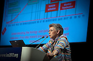 6th IAS Conference on HIV Pathogenesis, Treatment and Prevention (IAS 2011) Conference in Rome, Italy, held in the Auditorium Parco della Musica..IAS General Members' Meeting..Photo shows: Francoise Barre-Sinoussi from the Institut Pasteur, speaking on 30 years into the AIDS Epidemic..Photo©IAS/Steve Forrest/Workers' Photos
