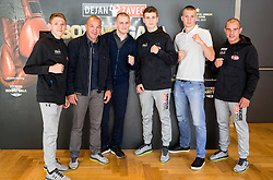 Team Slovenia: Tomi Lorencic, Dejan Zavec, Denis Lazar, Jan Sekol, Luka Mejac and Aljaz Venko during Official weighting ceremony one day before Dejan Zavec Boxing Gala event in Laško, on April 20, 2017 in Thermana Lasko, Slovenia. Photo by Vid Ponikvar / Sportida