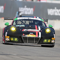 Detroit, MI - Jun 03, 2016:  The Park Place Motorsports Porsche 911 GT3 America America races through the turns at the Detroit Grand Prix at Belle Isle Park in Detroit, MI.