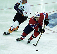 Icehockey. Qualification Olympic Games. Norway-Germany 8 january 2001. Norge-Tyskland, Jordal Amfi. Mats Rtygg, Norge.