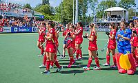 AMSTELVEEN -  Teleurstelling bij Spanje, de speelsters bedanken het publiek,  na de dames -wedstrijd voor de derde plaats ,  Belgie-Spanje (3-1) bij het  EK hockey , Eurohockey 2021. Belgie wint brons. COPYRIGHT KOEN SUYK
