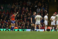 Tomas Francis of Wales is shown a yellow card and sin-binned by referee Mathieu Raynal late on in the game. Under Armour 2017 series Autumn international rugby, Wales v Georgia at the Principality Stadium in Cardiff , South Wales on Saturday 18th November 2017. pic by Andrew Orchard, Andrew Orchard sports photography