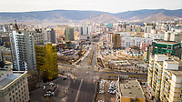 ULAANBAATAR, MONGOLIA - 25 APRIL 2019: An eerily quiet Ulaanbaatar as cars are banned from the roads for a few hours for disaster response testing. Taken near Peace Avenue.