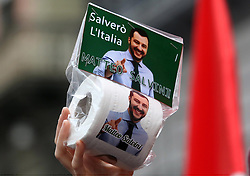 Italy, Naples - October 2, 2018.Protest demonstration against the visit of the Italian Interior Minister Matteo Salvini in Naples.A demonstrator shows toilet paper with Salvini's face (Credit Image: © Napoli/Giacomino/Ropi via ZUMA Press)