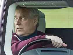 © Licensed to London News Pictures. 11/10/2021. Windsor, UK. Prince Andrew, Duke of York is seen driving near Windsor Castle. British Police have announced that they will take no further action against Prince Andrew after reviewing evidence. Virginia Roberts Giuffre, who alleges she was forced to have sex with him when she was 17 years old, is suing The Duke in America. Photo credit: Ben Cawthra/LNP