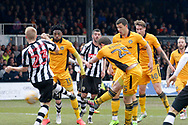 Newport' County's Mark O'Brien (c) shoots through a crowd of players to score his sides vital match winning goal. EFL Skybet football league two match, Newport county v Notts County at Rodney Parade in Newport, South Wales on Saturday 6th May 2017.<br /> pic by David Richards, Andrew Orchard sports photography.