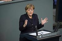 17 FEB 2016, BERLIN/GERMANY:<br /> Angela Merkel, CDU, Budneskanzlerin, waehrend ihrer Regierunsgerklaerung der zum Europaeischen Rat, Plenum, Deutscher Bundestag<br /> IMAGE: 20160217-03-026<br /> KEYWORDS: Debatte, Rede, speech