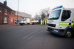 The Army Bomb Squad were called in and police closed  Leppings lane behind Sheffield Wednesday Football Ground on Tuesday after Council workers carrying out clearance work on the Banks of the River Don discovered what they thought might be an unexploded WWII bomb <br /> <br /> 5 March  2013<br /> Image © Paul David Drabble
