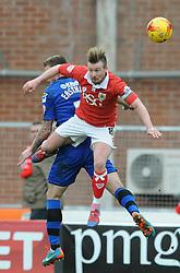 Bristol City's Wade Elliott challenges for the header with Rochdale's Ashley Eastham - Photo mandatory by-line: Dougie Allward/JMP - Mobile: 07966 386802 - 28/02/2015 - SPORT - football - Bristol - Ashton Gate - Bristol City v Rochdale AFC - Sky Bet League One