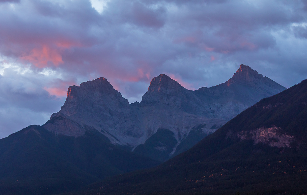 The Three Sisters in the Canadian Rockies at sunset in the Canadian Rockies, Canmore AB