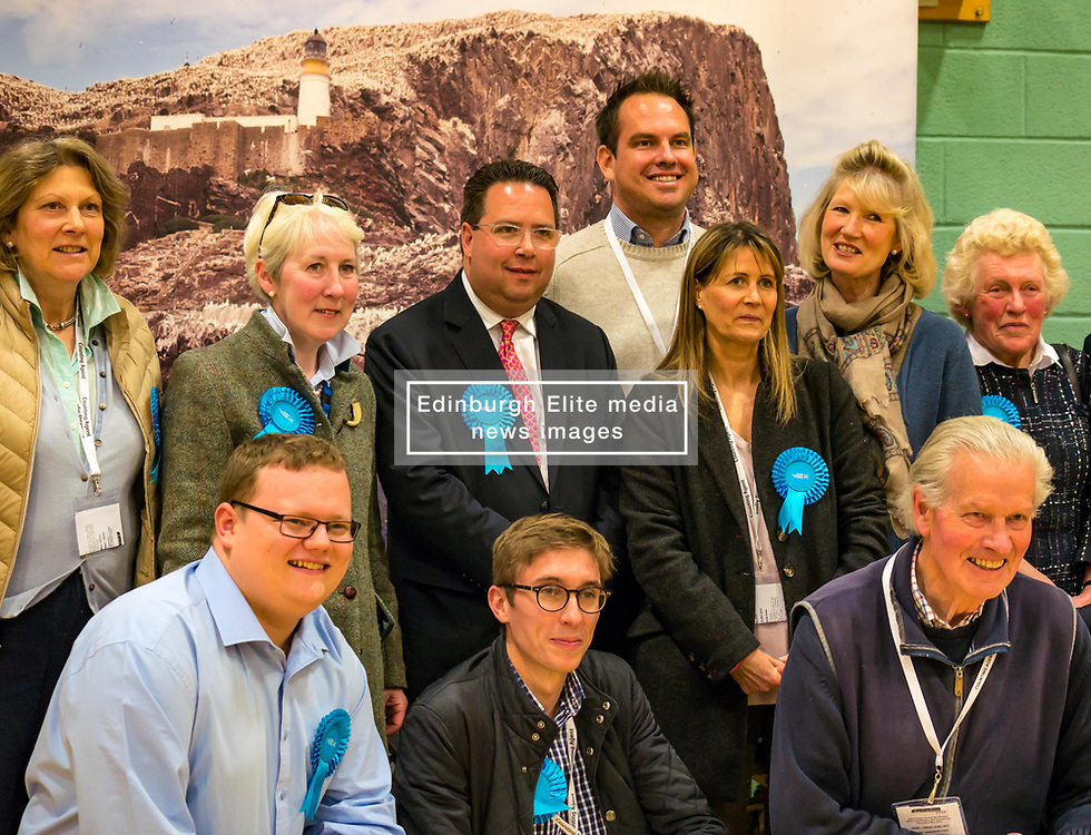 Haddington & Lammermuir by-election count. Haddington, East Lothian, Scotland, United Kingdom, 10 May 2019. Pictured: Craig Hoy, Scottish Conservative and Unionist Party with over 2,000 votes and his winning team. The election takes place of one councillor in Ward 5 of East Lothian Council due to the resignation of Councillor Brian Small. The successful candidate represents this ward along with the three existing councillors. The by-election uses the Single Transferable Vote (STV) system in which voters can rank candidates in order of preference and can choose to vote for as many or as few candidates as they like. The election fields 5 candidates from Scottish National Party (SNP), Scottish Labour Party, Scottish Conservatives and Unionist Party, Scottish Liberal Democrats and UK Independence Party (UKIP).<br /> <br /> Sally Anderson   EdinburghElitemedia.co.uk