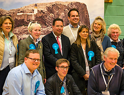 Haddington & Lammermuir by-election count. Haddington, East Lothian, Scotland, United Kingdom, 10 May 2019. Pictured: Craig Hoy, Scottish Conservative and Unionist Party with over 2,000 votes and his winning team. The election takes place of one councillor in Ward 5 of East Lothian Council due to the resignation of Councillor Brian Small. The successful candidate represents this ward along with the three existing councillors. The by-election uses the Single Transferable Vote (STV) system in which voters can rank candidates in order of preference and can choose to vote for as many or as few candidates as they like. The election fields 5 candidates from Scottish National Party (SNP), Scottish Labour Party, Scottish Conservatives and Unionist Party, Scottish Liberal Democrats and UK Independence Party (UKIP).<br /> <br /> Sally Anderson | EdinburghElitemedia.co.uk