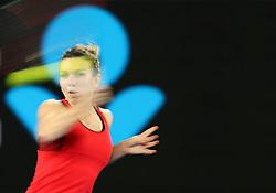 January 27, 2018 - Melbourne, Australia - Romania's SIMONA HALEP during the women's singles final match against Denmark's Caroline Wozniacki at Australian Open 2018. (Credit Image: © Bai Xuefei/Xinhua via ZUMA Wire)
