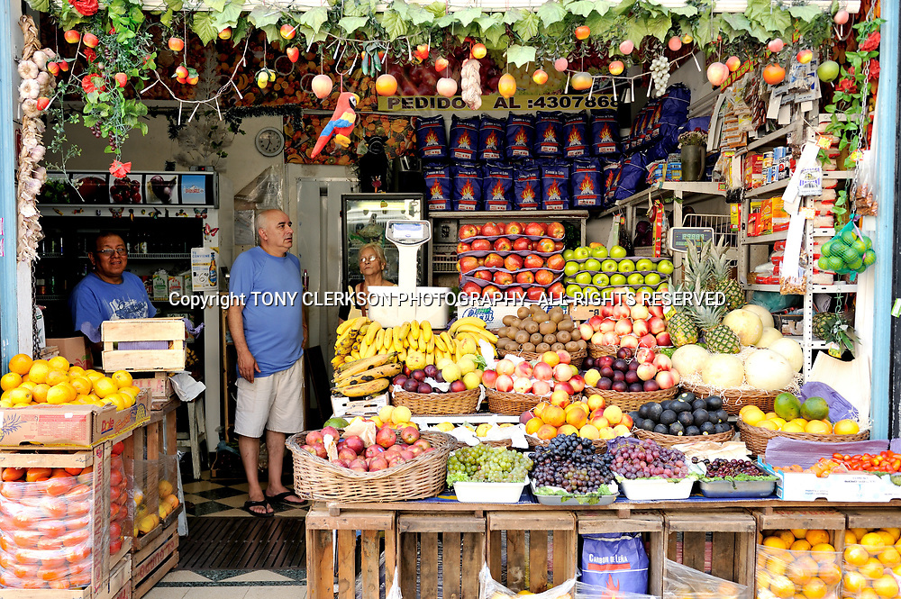 A fruit and vegetable shop near the Sunday market square of San Telmo in Buenos Aires.