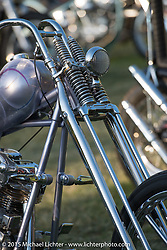 Invited builder Kosuke Saito's custom 1936 Harley-Davidson Knucklehead (that Bill Buckingham will ride in the 2014 Motorcycle Cannonball) on Day one of the Born Free Vintage Chopper and Classic Motorcycle Show at the Oak Canyon Ranch in Silverado, CA. USA. Saturday, June 28, 2014.  Photography ©2014 Michael Lichter.