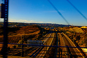 View of A23 motoway near <br /> Cuarte de Huerva<br /> Zaragoza, from high speed AVE train between Barcelona Sants and Madrid Atoche stations.