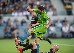 April 29, 2018 - Los Angeles, California, USA - Los Angeles, Ca. - The Los Angeles Football Club vs the Seattle Sounders in the LAFC's first home game at the Banc of California Stadium. Final score LAFC 1, Seattle 0. (Credit Image: © David Bernal/ISIPhotos via ZUMA Wire)