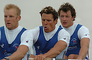FISA World Cup Rowing Munich Germany..27/05/2004..Thursday morning opening heats...Heat men's four GBR M4-. left to right. Alex Partridge, James Cracknell and Steve Wiliams. [Mandatory Credit: Peter Spurrier: Intersport Images].