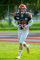 KELOWNA, BC - OCTOBER 6: Conor Richard #10 of Okanagan Sun rscores a touchdown against the VI Raiders at the Apple Bowl on October 6, 2019 in Kelowna, Canada. (Photo by Marissa Baecker/Shoot the Breeze)
