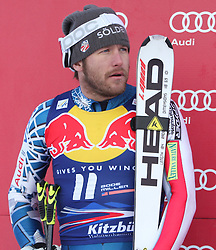 KITZBUHEL AUSTRIA. 22-01-2011. Bode Miller (USA) 2nd placed racer at the presentation ceremony for the 71st Hahnenkamm downhill race part of  Audi FIS World Cup races in Kitzbuhel Austria.  Mandatory credit: Mitchell Gunn