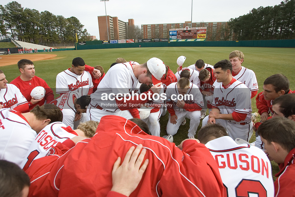 17 February 2007: North Carolina State Wolfpack before a 8-0 victory over the Gardner-Webb Bull Dogs at Doak Field in Raleigh, NC.