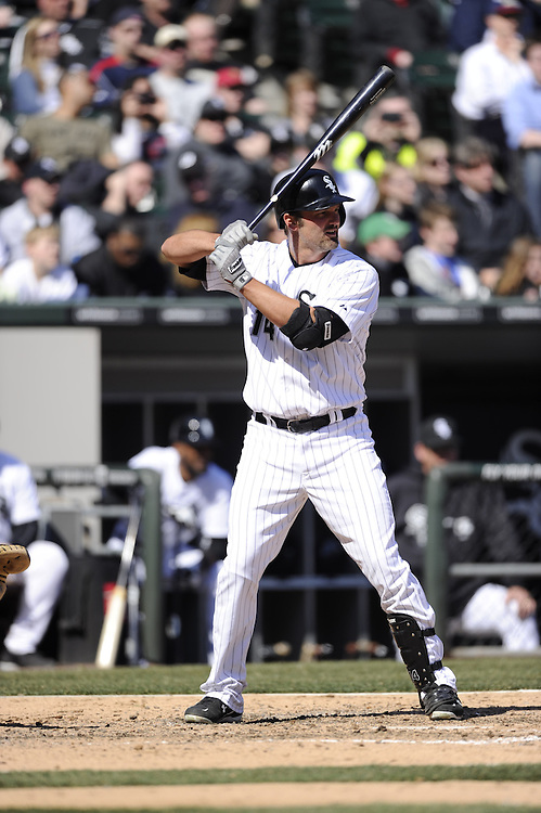 CHICAGO - APRIL 04:  Paul Konerko #14 of the Chicago White Sox bats against the Kansas City Royals on April 4, 2013 at U.S. Cellular Field in Chicago, Illinois.  The Royals defeated the White Sox 3-1.  (Photo by Ron Vesely)   Subject: Paul Konerko