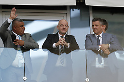 (L-R) president of the Argentina FA Chichi Tapia, FIFA, president Gianni Infantino, president of the Icelandic FA Gudni Bergsson during the 2018 FIFA World Cup Russia group D match between Argentina and Iceland at the Spartak Stadium on June 16, 2018 in Moscow, Russia.