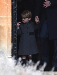 Prince George of Cambridge attends a Christmas Day service at St. Marks Church in Englefield on December 25, 2016.
