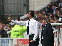 Photo: Andrew Unwin.<br />Hartlepool United v Port Vale. Coca Cola League 1. 06/05/2006.<br />Hartlepool's manager, Paul Stephenson (L), directs his team.