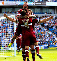Football - 2013 / 2014 Championship  - Brighton & Hove Albion vs. Derby County<br /> Chris Martin of Derby County celebrates scoring with team mates at The American Express Community Stadium <br /> Colorsport/Shaun Boggust