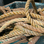 Discarded lines (ropes) from fishing boats in Gloucester, ma harbor