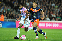 FOOTBALL - FRENCH CHAMPIONSHIP 2011/2012 - L1 - MONTPELLIER HSC v EVIAN TG - 1/05/2012 - PHOTO SYLVAIN THOMAS / DPPI - YOUNES BELHANDA (MHSC) / ERIC TIE BI (EVI)