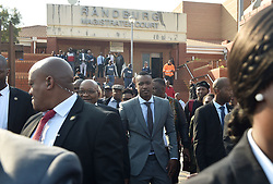 South Africa: Gauteng: Former president Jacob Zuma with his son Duduzane Zuma leaves the Randburg Magistrates court in Johannesburg, the son of the former president is facing a culpable homicide charge over a 2014 car acciden.<br />987<br />23.08.2018<br />Picture: Itumeleng English/African News Agency (ANA)