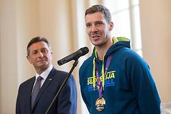 "Goran Dragic during award ceremony ""Zlati red za zasluge"" for Basketball association of Slovenia on the day of statehood in the presidential palace, on June 25, 2018 in Ljubljana, Slovenia. Photo by Urban Urbanc / Sportida"