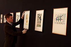 © licensed to London News Pictures. London, UK 13/04/2012. Prints by the 1920s and 30s leading British print makers of the time are being hung for view, ahead of auction on April 17 at Bohams, London.  Photo credit: Tolga Akmen/LNP