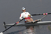 Hazewinkel, BELGIUM, LW1X, Andrea DENNIS moves down to the start for the A Final, of the Women's Lightweight Single Sculls, at the GB Rowing Senior Trials, on Mon 16.04.2007  [Credit, Peter Spurrier/Intersport-images]   [Mandatory Credit, Peter Spurier/ Intersport Images]. , Rowing Course, Bloso, Hazewinkel. BELGUIM