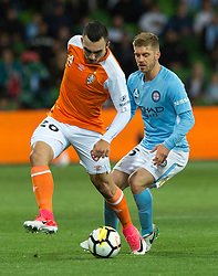 October 6, 2017 - Melbourne, Victoria, Australia - Melbourne, Victoria, Australia - Nicholas D'agostina (#26) of Brisbane Roar and Luke Brattan (#26) of Melbourne City in action during the round 1 match between Melbourne City and Brisbane Roar at AAMI Park in Melbourne, Australia during the 2017/2018 Australian A-League season. (Credit Image: © Theo Karanikos via ZUMA Wire)