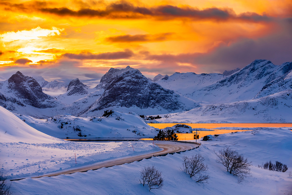 Winter landscape along HIghway E10 (the main road through the islands) between Flakstad and Ramberg, Lofoten Islands, Arctic, Northern Norway.