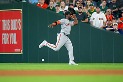 May 23, 2018 - Houston, TX, U.S. - HOUSTON, TX - MAY 23: San Francisco Giants right fielder Andrew McCutchen (22) unable to make the catch hit by Houston Astros first baseman Yuli Gurriel (10) in the fourth inning during MLB baseball game between the Houston Astros and the San Francisco Giants on May 23, 2018 at Minute Maid Park in Houston, Texas. (Photo by Juan DeLeon/Icon Sportswire) (Credit Image: © Juan Deleon/Icon SMI via ZUMA Press)