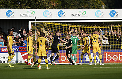 Port Vale's Nathan Smith (centre right) celebrates after scoring his sides first goal of the game during the Sky Bet League Two match at Borough Sports Ground, Sutton. Picture date: Saturday October 9, 2021.