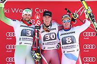 Alpint<br /> FIS World Cup<br /> Foto: Gepa/Digitalsport<br /> NORWAY ONLY<br /> <br /> GARMISCH-PARTENKIRCHEN,GERMANY,30.JAN.16 - ALPINE SKIING - FIS World Cup, downhill, men, award ceremony. Image shows Bostjan Kline (SLO), Aleksander Aamodt Kilde (NOR) and Beat Feuz (SUI).