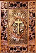 Ornate confessional box detail at the National Shrine of Divine Mercy, Stockbridge, Massachusetts, USA