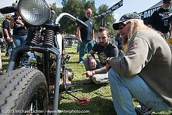 Invited builder Jordan Dickinson (Union Speed And Style) with his custom Harley-Davidson Knucklehead on Day one of the Born Free Vintage Chopper and Classic Motorcycle Show at the Oak Canyon Ranch in Silverado, CA. USA. Saturday, June 28, 2014.  Photography ©2014 Michael Lichter.