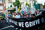 The Air that we Grieve march on July 12th 2019 in East London, United Kingdom. Organised by Extinction Rebellion to draw attention to air pollution and the climate emergency.